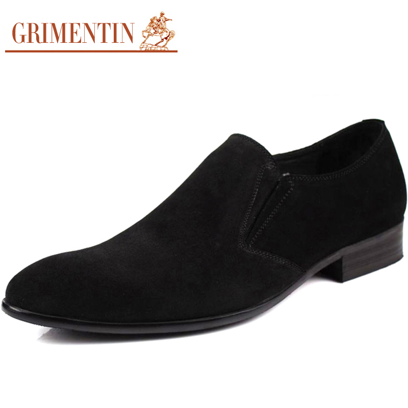Men Suede Dress Shoes Genuine Leather