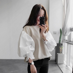 Image 3 - CHICEVER 2020 Spring Female Sweatshirt For Women Top Lantern Sleeve Pullovers Loose Plus Size Oversizes Sweatshirts Tops Clothes