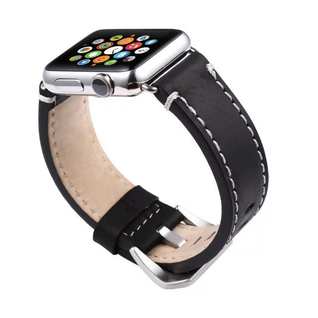 New Fashion Suture Genuine Leather Watchband for Apple Watch Band 42mm 38mm Leather for Iwatch 1 2 3 Series Strap Bracelet Black istrap black brown red france genuine calf leather single tour bracelet watch strap for iwatch apple watch band 38mm 42mm