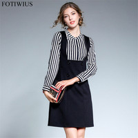 Office Two Piece Dress Set Women Long Sleeve Striped Shirt Tops Strap Dress Ladies Two Piece