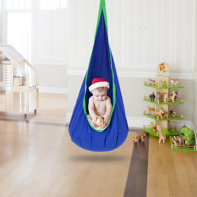 70 * 140cm Kids Pod Swing Chair Indoor Outdoor Foldable Hanging Hammock  Chair Swing Seat Cotton