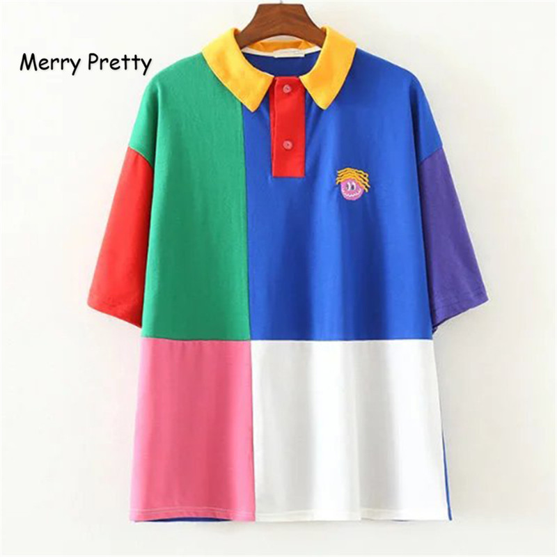 Merry Pretty Cotton T-shirts Brand Design Casual Summer Women Turn Down Collar Tshirt Patchwork Contrast Color Embroidery Tops