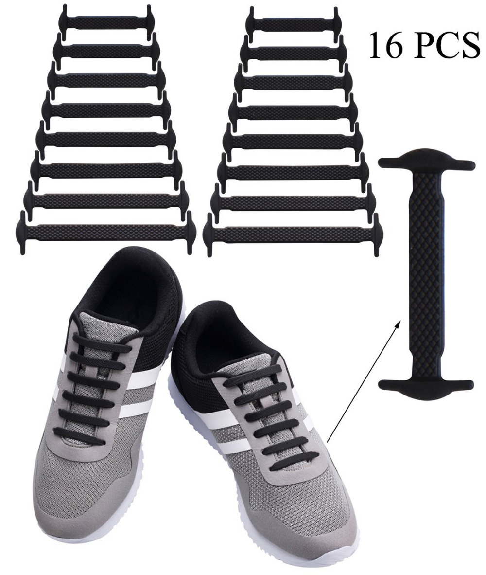 16pcs/pack Silicone No Tie Shoelaces For Kids And Adults Elastic Shoelace For Sneakers Waterproof Lazy Tieless Rubber Shoe Lace