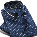 Caiziyijia verano 2017 de los hombres 100% algodón de mini-patrón de lunares camisa de vestir de manga corta suave button-down casual slim-fit camisas
