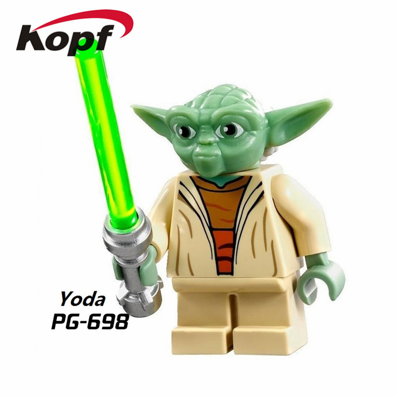 Single Sale Super Heroes Plastic Space Yoda Finn Trooper K-3PO Bricks Action Figures Building Blocks Children Gift Toys PG698