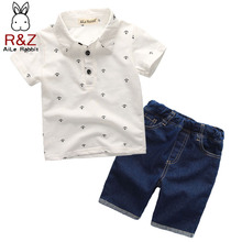 hot deal buy r&z 2018 new summer boys clothing sets toddler infant kids baby boys t-shirt+denium shorts pants 2 pcs clothes sets