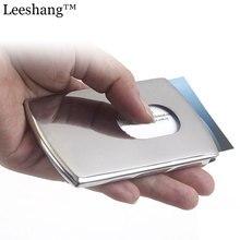 Mens Women Aluminium Card Holder Business Cardholder Wallet Mini Metallic Business Card Holder Porte Carte Thumb Slide Card Box