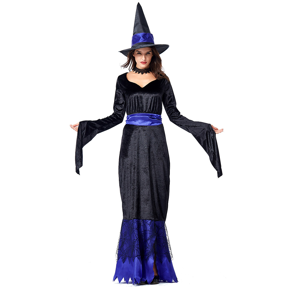 Gothic Witch Dress for Halloween Party Sexy Floor Length Devil Halloween Costume Mesh Lace Irregular Black Fancy Party Dress