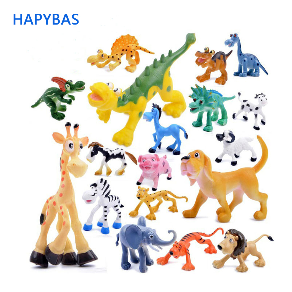 6pcs/lot Cute Cartoon Jungle Forest Animal Kingdom Elephant Dinosaur Farm Poultry Lion And Tiger Model Classic Action Figure Toy