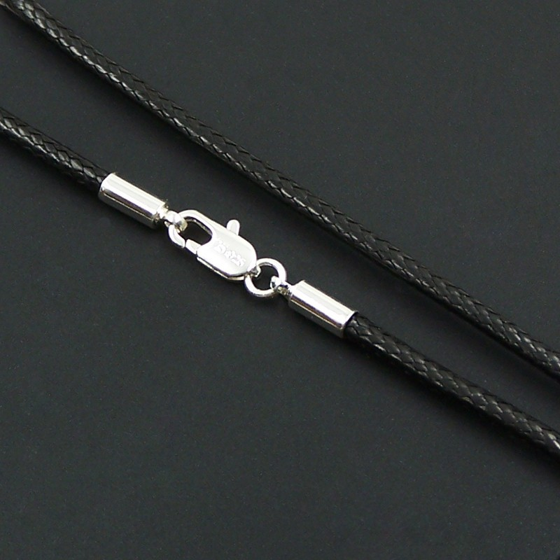 2018 Brand New Black Leather Rope Necklace Silver Color Lobster Clasp Choker Glam Cool Men Gift Women Gift Untuk Wanita Bijoux