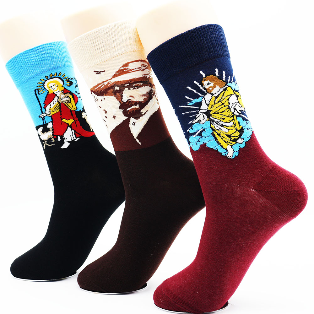 New mens retro funny cotton long socks Mens novelty high quality casual socks manufacturers wholesale (3 Pairs / Lot)