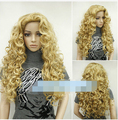 FREE SHIPPING ! ! ! Fashion Ladies Wigs Blonde Long Curly Full Natural Hair Cosplay Wigs +Wig cap