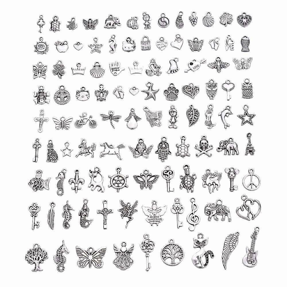 100 pcs לערבב עתיק כסף בציר תליוני קסמי Fit DIY תכשיטי ביצוע ממצאי צמידי Diffrent סגנון קסמי בעבודת יד