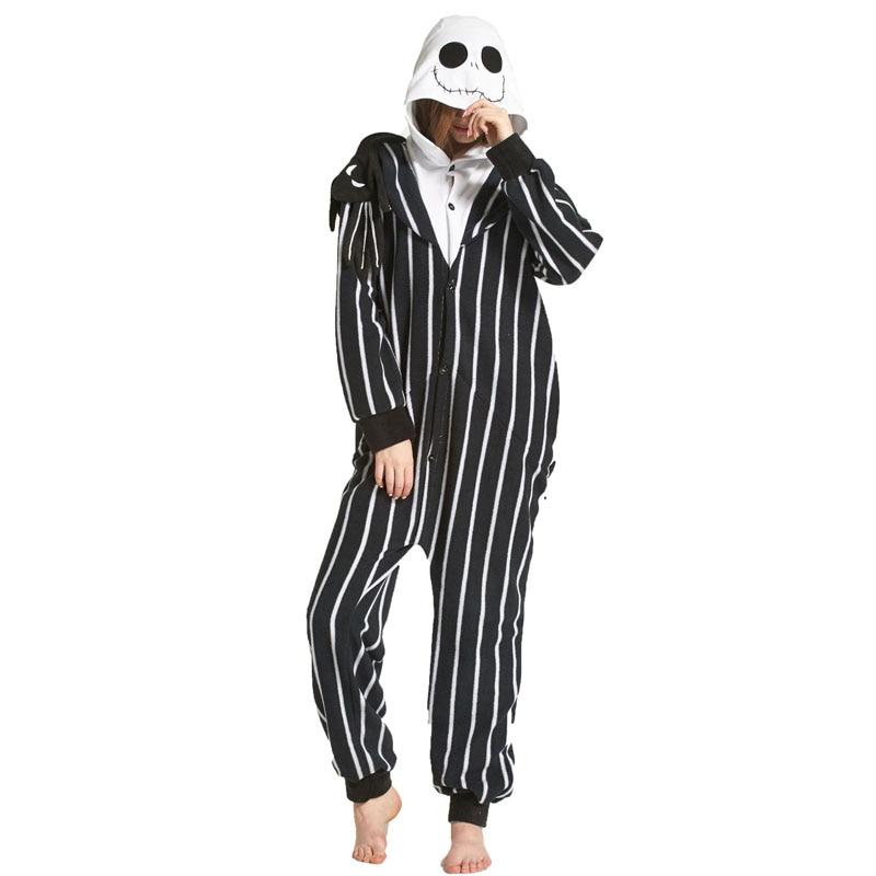 Jack Skeleton Cartoon Polar Fleece Skull Kigurumi Onesie Women Pajamas Men Adult Bodysuit Sleepwear For Winter Halloween Costume