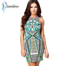 15d0683418da Nova marca bodycon party dress sexy vestidos bandage dress mulheres  elegantes verão asteca imprimir casual vestidos