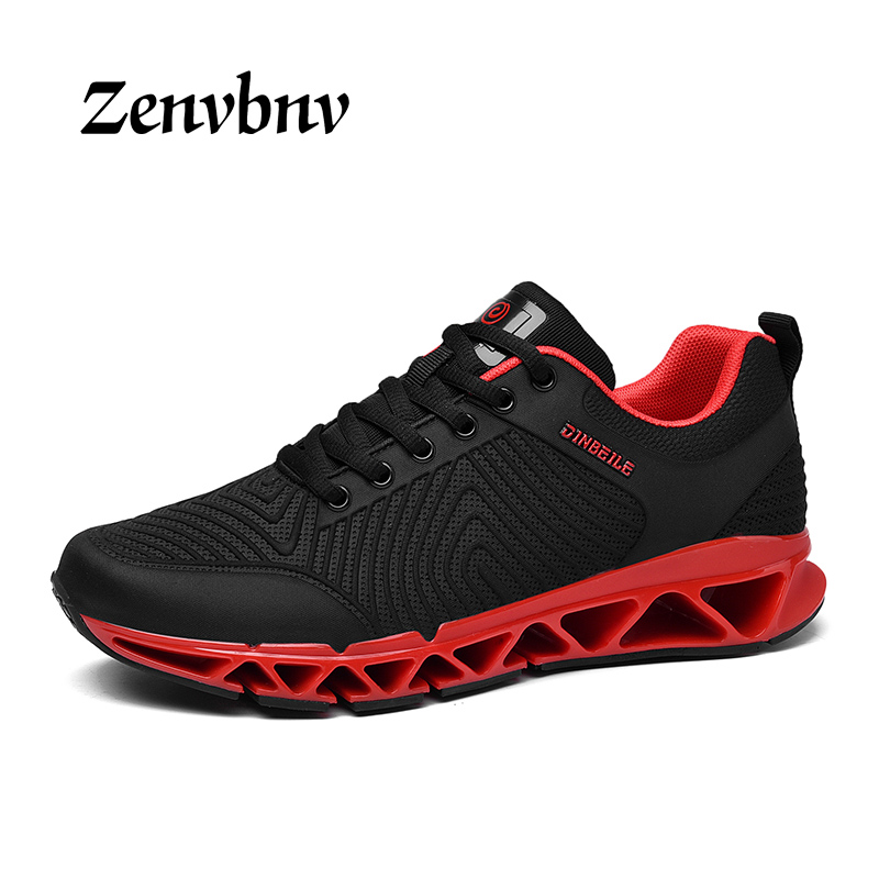 ZENVBNV Spring/Summer Mesh Breathable Men Running Shoes Red Walking Men Sneaker Comfort Run Athletic Sport Shoe Soft Wearable