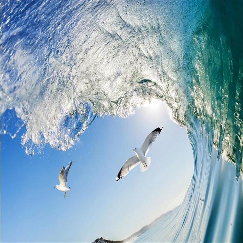 Beibehang decke hause dekoration sea wave taube blauen himmel tapete ...