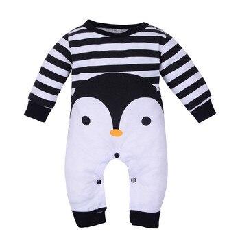 92b350255 Ropa de bebé recién nacido Niño niño manga larga Impresión de dibujos  animados rayas mameluco pijamas traje mamelucos del invierno del Bebé Ropa  de bebe