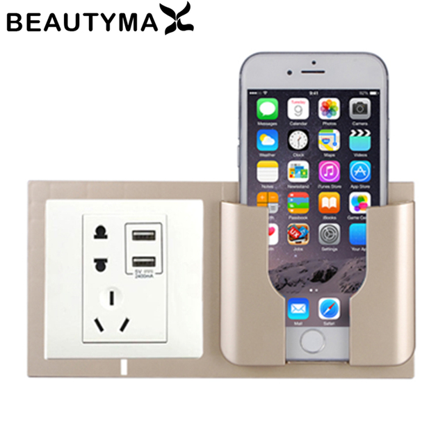 960c5c8d5c Home Decoration Wall Holder Phone Charging Holder Socket Charger Storage  Box Mobile Phone Holder Universal Stand