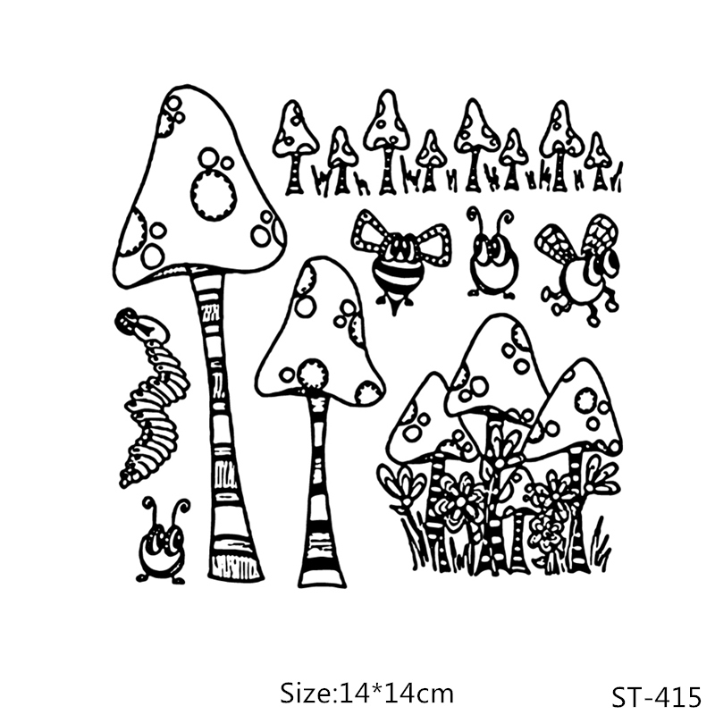 AZSG Mushroom Bee Insect Clear Stamps/Seals For DIY Scrapbooking/Card Making/Album Decorative Silicone Stamp Crafts