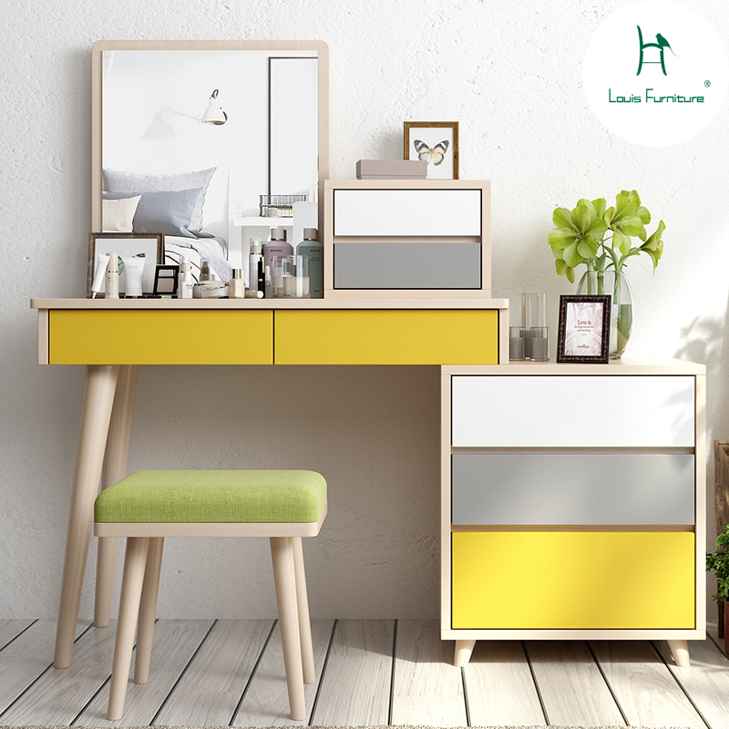US $299.0 |Louis Fashion Creative Dresser Retractable Storage Small  Apartment Mini Makeup Table Cabinet Combined Modern Simple Bedroom-in  Dressers ...