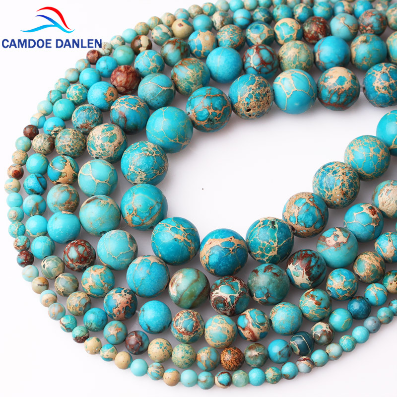 CAMDOE DANLEN Natural Stone Lake Blue Sea Sediment Turquoises Imperial Jaspers Beads 4/6/8/10/12MM Diy Beads For Jewelry Making(China)