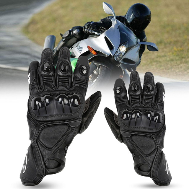 CAR-partment Real Leather Protect Mesh Motorcycle Gloves Breathable Men Profession