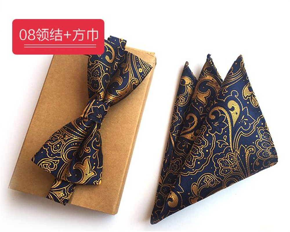 SCST Brand Gravata Gold Paisley Print Blue Handkerchief Mens Silk Ties For Men Bow Tie With Match Pocket Square 2pcs Set A058