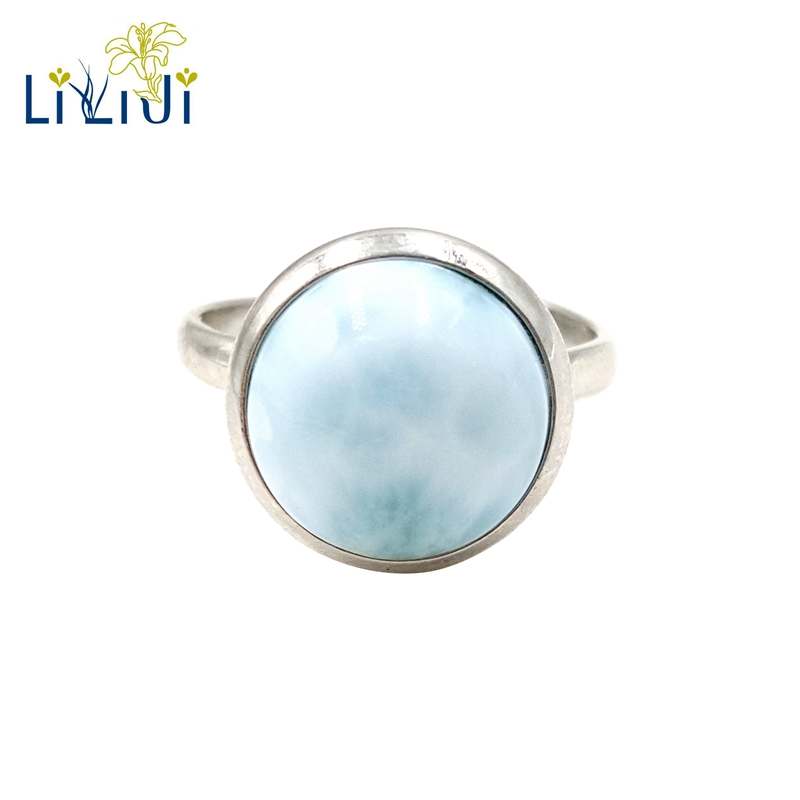 LiiJi Gemstone Natural Caribbean Blue Larimar 925 Sterling Silver Round Shape Vintage Ring Resizable Both Men And Wome
