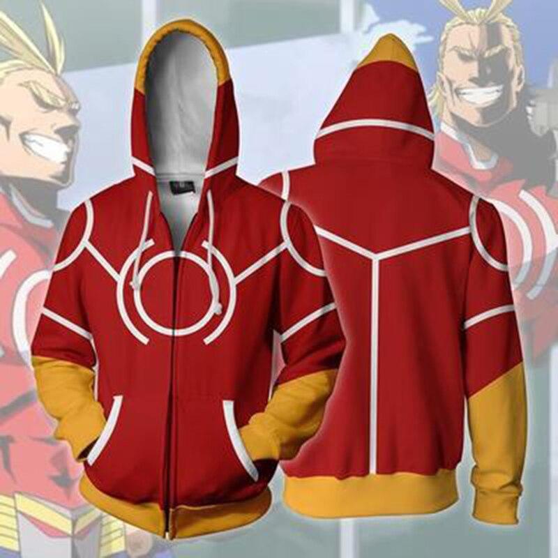 2018 New 3D My Hero Academia Sweatshirts Uniform Men Hoodie Halloween Cosplay Costume College Outfit Zipper Coat Jacket
