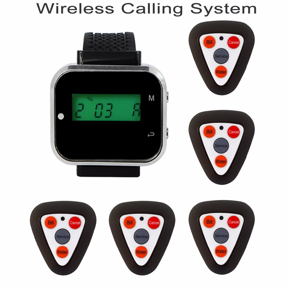 433.92MHz Wireless Pager Restaurant Calling System Rechargeable 1pcs Watch Receiver +5pcs Call Button F3298F wireless pager system 433 92mhz wireless restaurant table buzzer with monitor and watch receiver 3 display 42 call button