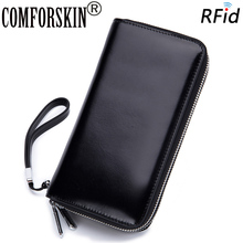 COMFORSKIN Premium Cowhide Leather Multi-Card Bit Women Wallets RFID Protection Large Capacity Double Compartment Zipper Purses comforskin luxurious 100% genuine leather multi card bit woman zipper purses famous brand long large capacity women s wallets