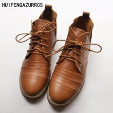 HUIFENGAZURRCS-European station autumn womens shoes, retro color, Martin boots, female trend leather boots