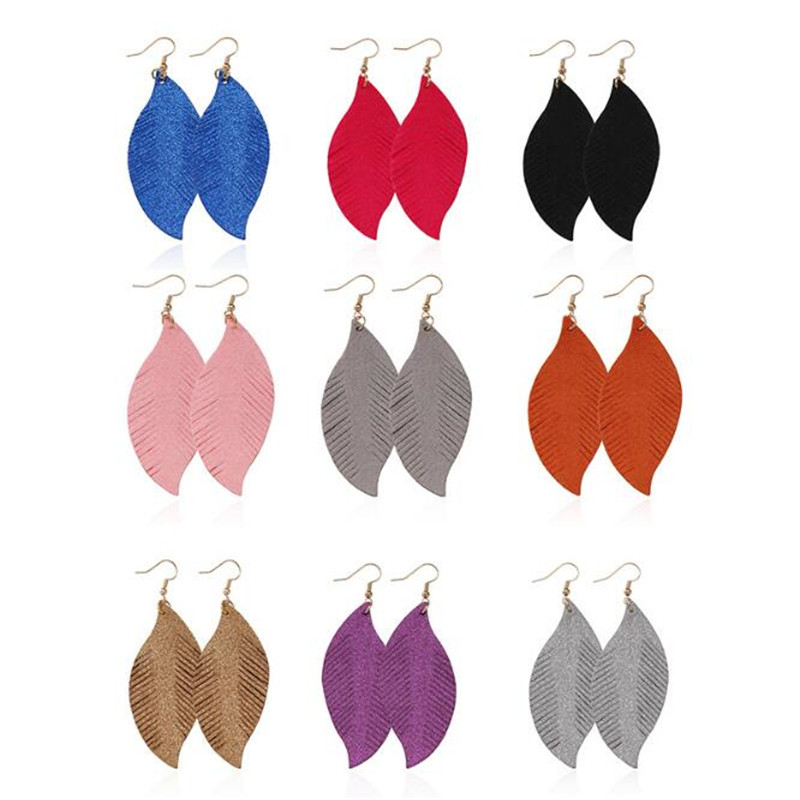 Bohemia Glitter Sequins Leather Earrings For Women Feather Lightweight Leaf Fashion Jewelry Gifts Wholesale