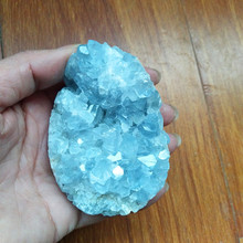 100% Natural celestine stone crystal geode egg shaped stones and crystals cluster home decoration