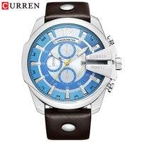 Homens de luxo marca curren moda analógico militar esportes relógio quartzo masculino pulseira couro alta qualidade relógio de pulso hodinky