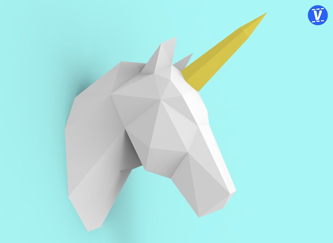 The Unicorn 3D Wall Paper Model DIY Hand Molded Decoration Ornaments Toys Constitute A Three-dimensional Geometric Origami