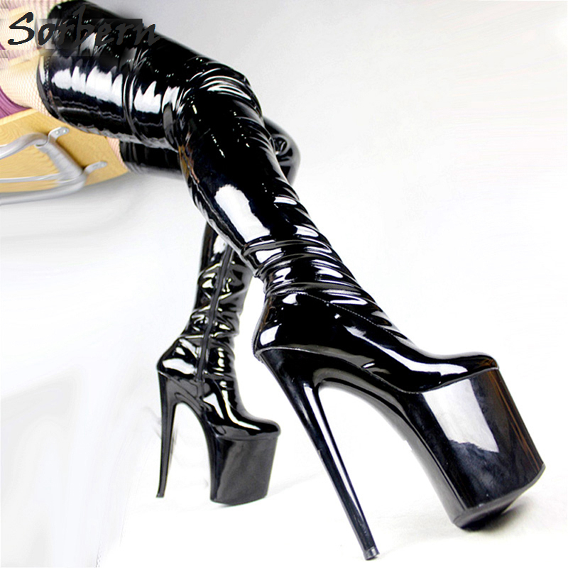 цена на Sorbern Sexy Over The Knee Thigh High Boots 20Cm/8 Extrem High Heels Shoes Ladies Platform Heel Boot Pole Dancing Party Boots