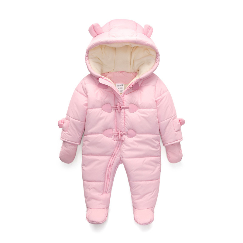 a5a345cfd Baby Snowsuits Cotton Hooded Jumpsuit Boys Girls Winter Warm Coats ...