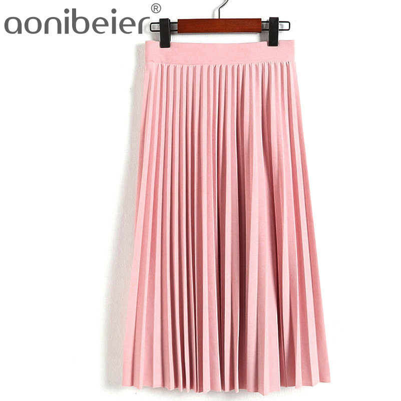 Aonibeier Fashion Women's High Waist Pleated Solid Color Length Elastic Skirt Promotions Lady Black Pink Party Casual Skirts 9