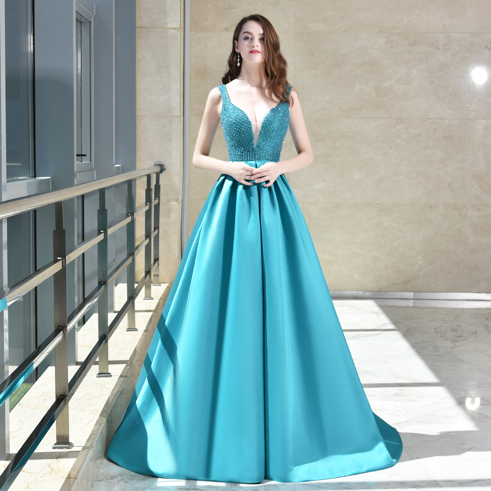 Sexy perles bleu reine Vintage Robes De Soirée de luxe V-cou robe de festa Partie robes Longue de bal Robes MTOB1012
