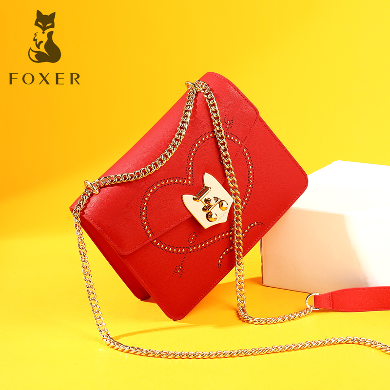 FOXER Brand Women Fashion Leather Crossbody Bag Female Chain Messenger Bag Shoulder Bag For Lady Luxury Handbag Purse For Girl luxury flower fashion design pu leather women s chain purse shoulder bag handbag female crossbody mini messenger bag 3 colors