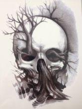 21 X 15 CM Tree And Skull Temporary Tattoo Stickers Temporary Body Art Waterproof#156