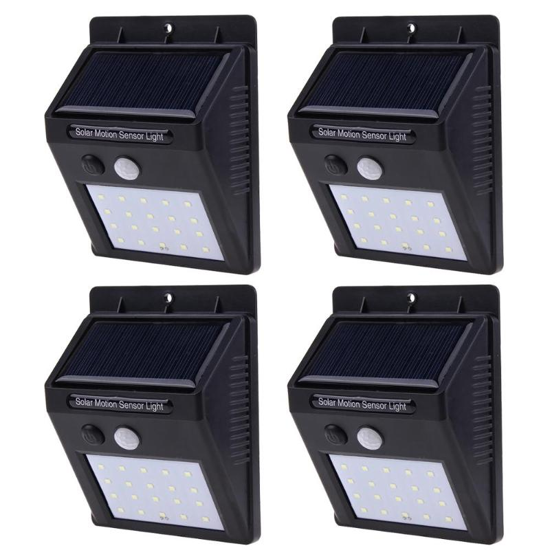 4pcs Rechargeable 20 LED Solar Light Outdoor Garden Yard Lamp Decoration Motion Sensor Lamp Security Wall Light Waterproof