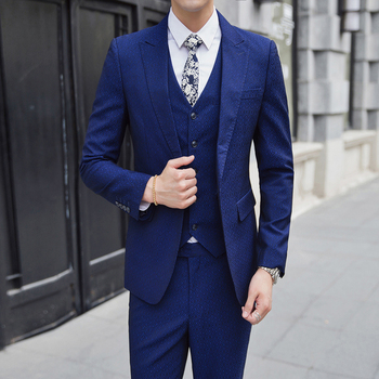 Autumn Mens Blue Suit 3 Piece Set (suit Jackets +  Vests +  Trousers) Large Size S-5XL