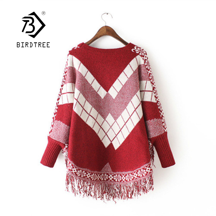 Knitted Outwear Pullovers Poncho Loose-Batwing-Sleeve Retro Sweaters Women Irregular