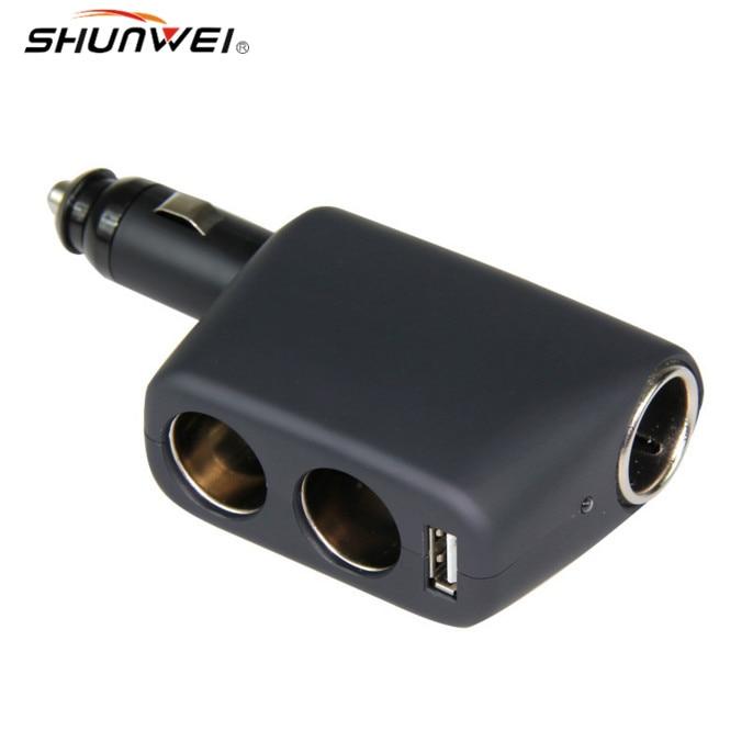 12V24V Car ծխախոտի թեթև վարդակից 3 եղանակով, պտտվող մեքենայի լիցքավորիչով USB, անկյուն կարգավորելի, Գույնը ՝ սև