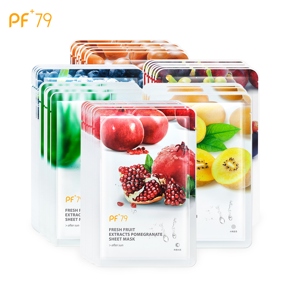 PF79 6pcs Sheet Masks Skin Care Fruit Facial Mask Moisturizing Oil Control Blackhead Remover Wrapped Mask Face Care Mask