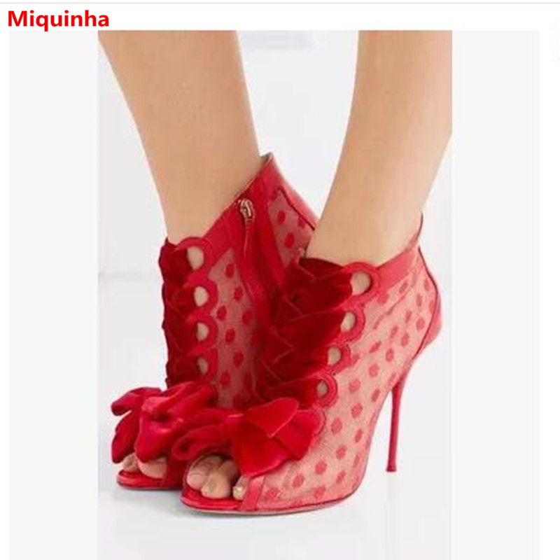 New Fashion Red Solid Peep Toe Polka Dot Butterfly Knot Zip High Thin Heel Women Sandals Cover Heel Women Casual Walkway Sandals