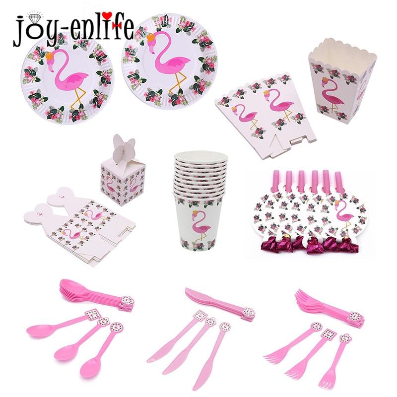 JOY-ENLIFE 1set Flamingo Tema Papper Porslin Plate Cup Banner Luau - Semester och fester